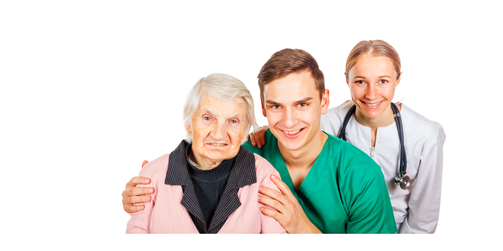 2 caregiver staff and elder female