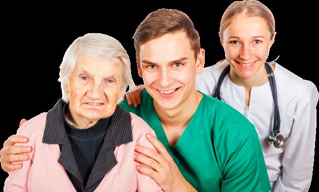 2 caregiver staff and elder female
